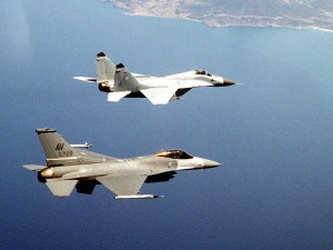 German MiG-29 and USAF F-16