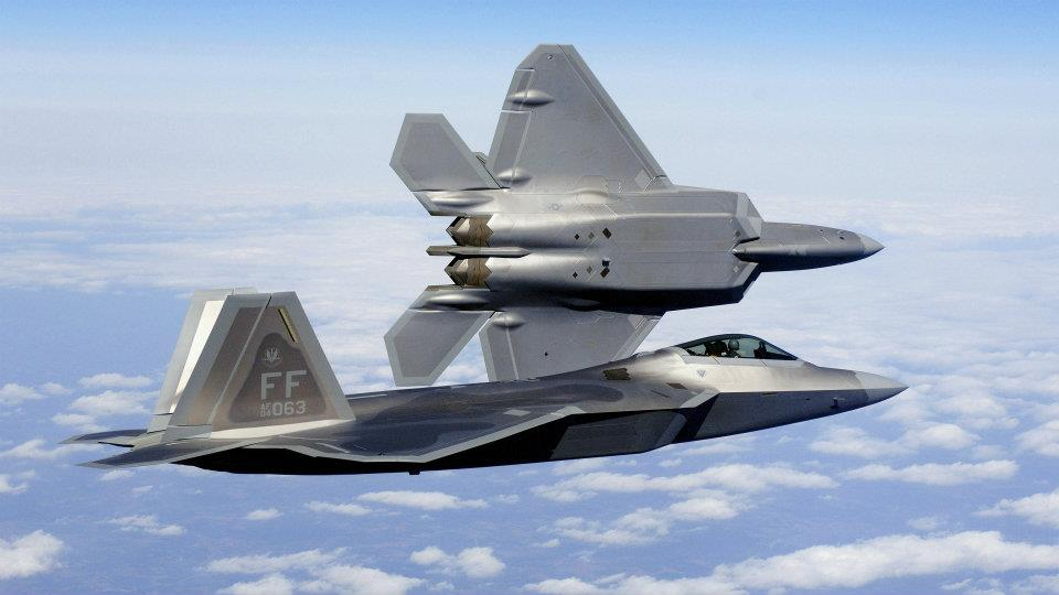 F-22A Raptor fighters delivery flight at Langley Air Force Base (AFB)